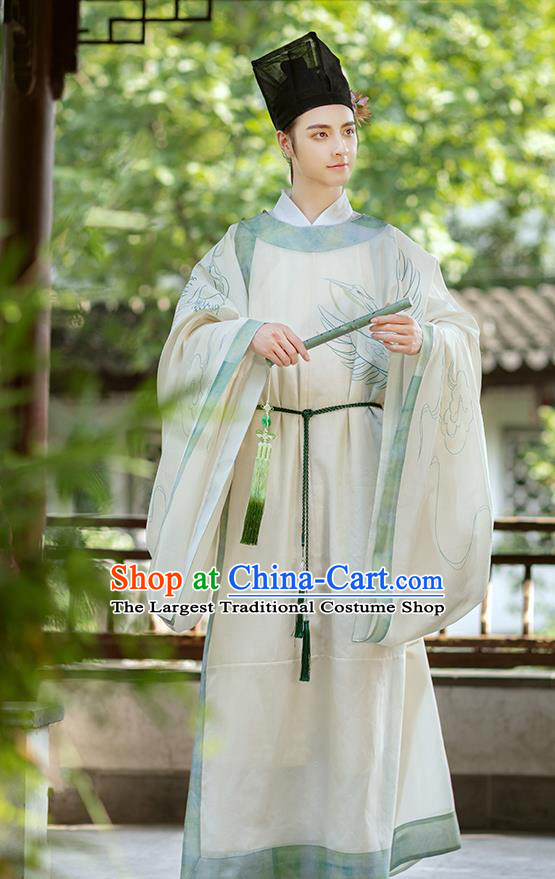 Chinese Traditional Song Dynasty Scholar Historical Costumes Ancient Nobility Childe Hanfu Young Man Garment Clothing