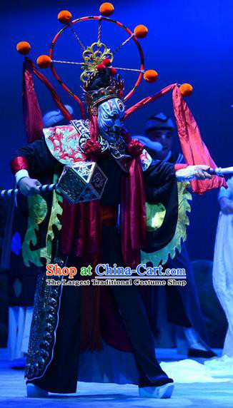 Breeze Pavilion Chinese Ping Opera God Garment Costumes and Headwear Pingju Opera Immortal Armor Apparels Clothing