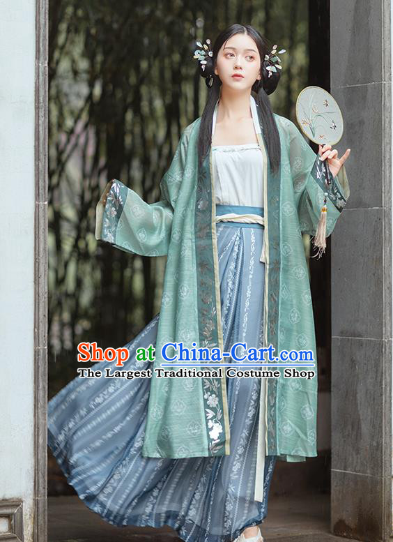 Chinese Traditional Song Dynasty Civilian Female Historical Costumes Ancient Young Lady Hanfu Dress Garment for Women