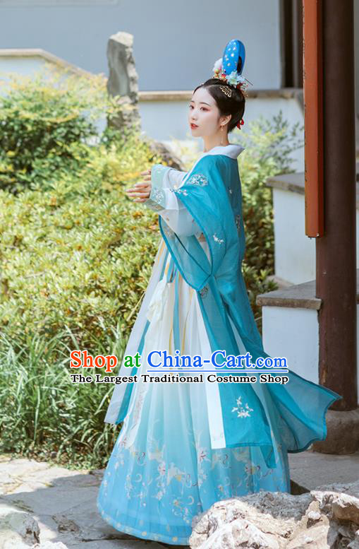 Chinese Ancient Court Lady Embroidered Hanfu Dress Traditional Song Dynasty Women Garment Royal Princess Historical Costumes