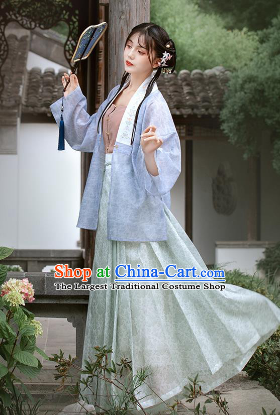 Chinese Ancient Civilian Woman Garment Hanfu Dress Traditional Ming Dynasty Village Girl Historical Costumes Complete Set