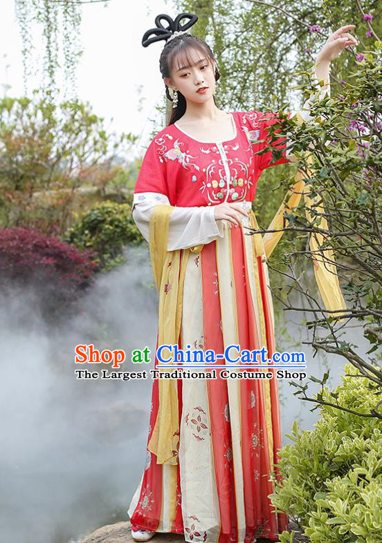Chinese Traditional Ancient Noble Lady Hanfu Dress Tang Dynasty Royal Princess Historical Costumes for Women