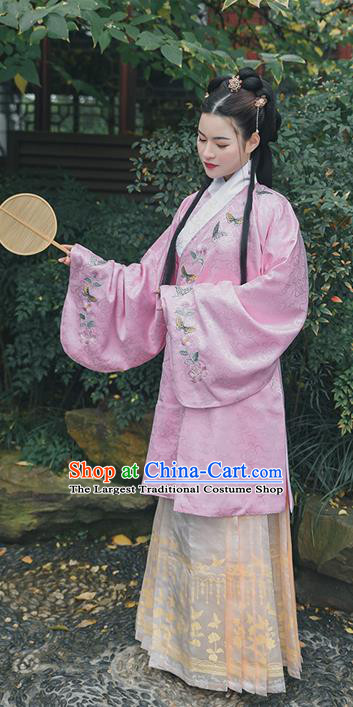 Chinese Traditional Ming Dynasty Patrician Lady Embroidered Hanfu Dress Ancient Court Woman Apparels Historical Costumes