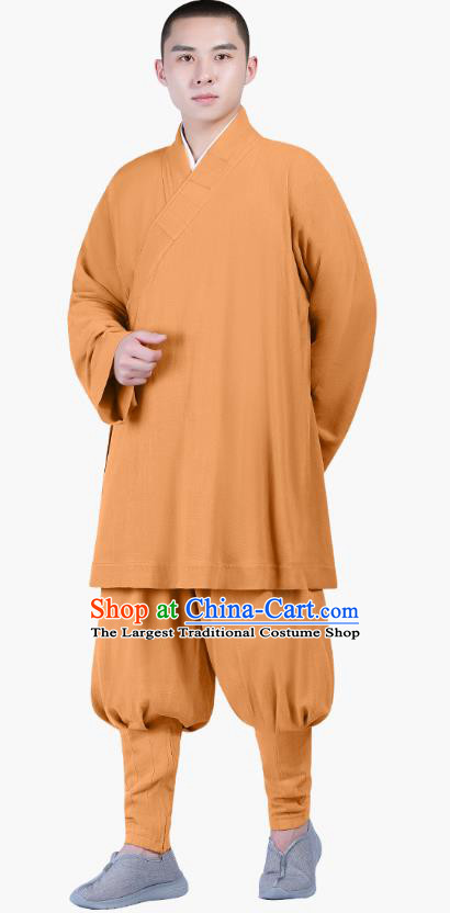 Chinese Traditional Monk Costume National Clothing Buddhism Ginger Shirt and Pants for Men