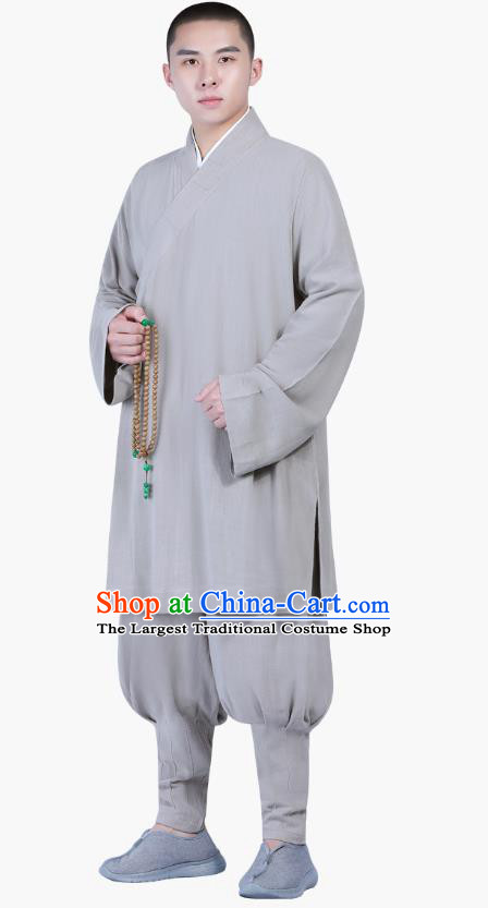 Chinese Traditional Monk Costume National Clothing Buddhism Grey Shirt and Pants for Men
