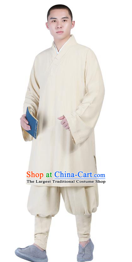 Chinese Traditional Monk Costume National Clothing Buddhism Beige Shirt and Pants for Men