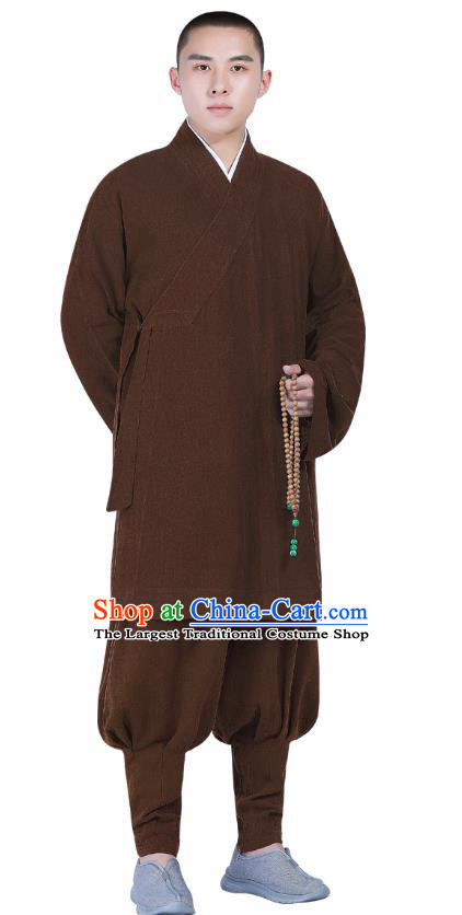 Chinese Traditional Monk Costume National Clothing Buddhism Brown Shirt and Pants for Men