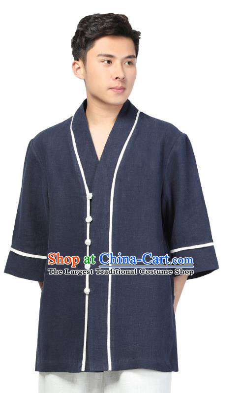 Chinese Traditional Tang Suit Upper Outer Garment Costume National Clothing Navy Ramie Shirt for Men