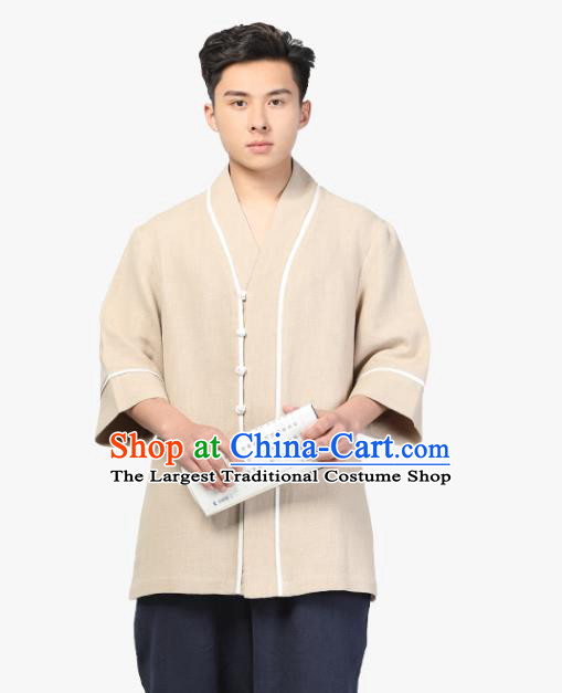 Chinese Traditional Tang Suit Upper Outer Garment Costume National Clothing Beige Ramie Shirt for Men