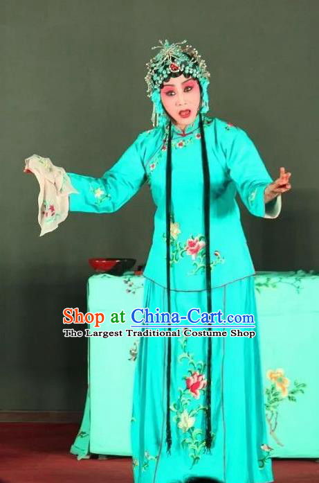 Chinese Sichuan Opera Diva Cui Qiaofeng Garment Costumes and Hair Accessories Ma Qian Po Shui Traditional Peking Opera Actress Dress Young Female Blue Apparels