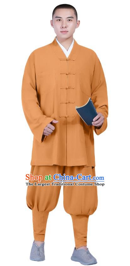 Chinese Traditional Buddhism Costume Shaolin Monk Clothing Ginger Blouse and Pants Complete Set for Men