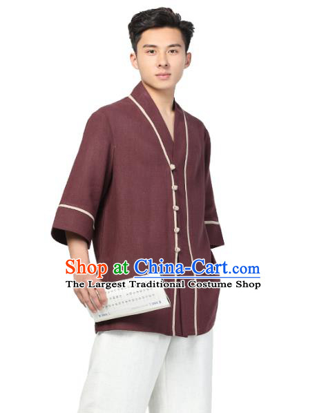 Chinese Traditional Tang Suit Costume National Clothing Dark Red Ramie Shirt for Men