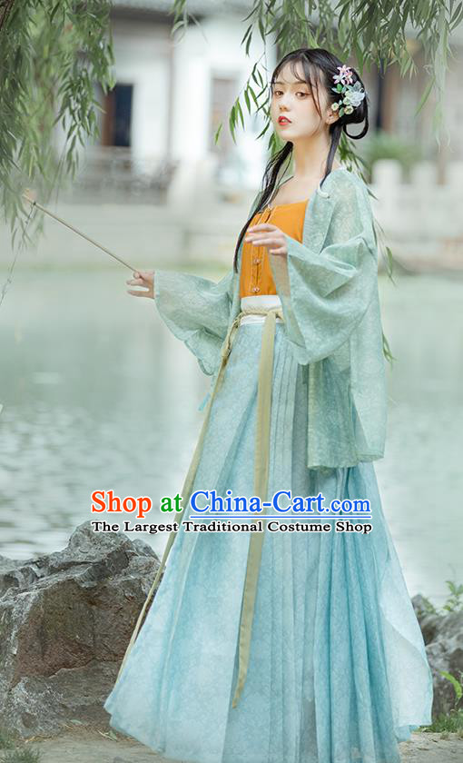 Chinese Ancient Young Lady Hanfu Dress Traditional Ming Dynasty Civilian Women Historical Costumes Complete Set