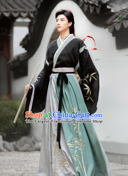 Chinese Ancient Childe Hanfu Clothing Traditional Jin Dynasty Swordsman Historical Costumes Complete Set for Men