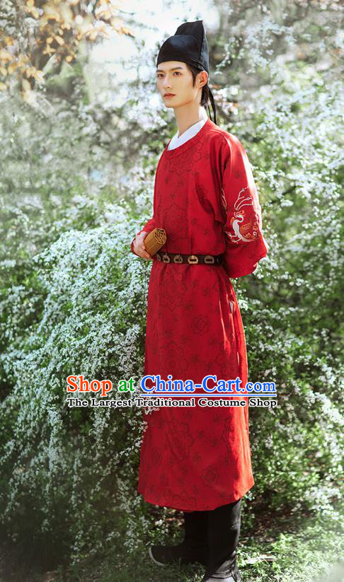 Chinese Ancient Swordsman Hanfu Clothing Traditional Tang Dynasty Young Male Red Robe Historical Costumes Complete Set