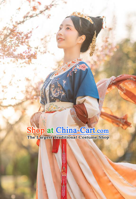 Chinese Ancient Tang Dynasty Palace Lady Hanfu Dress Traditional Royal Princess Garment Historical Costumes Complete Set