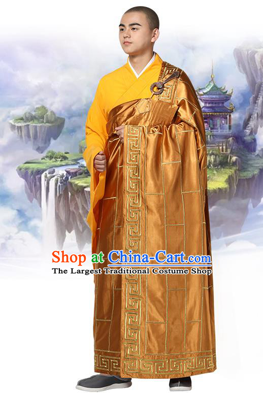 Chinese Traditional Monk Dark Golden Silk Frock Costume Buddhism Clothing Cassock Bonze Garment for Men