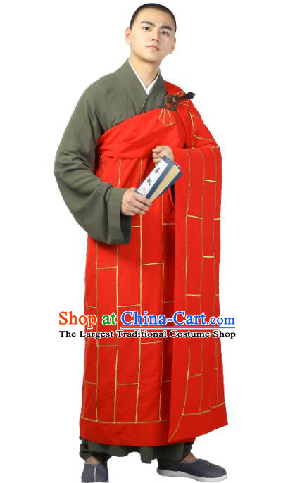 Chinese Traditional Monk Red Kasaya Costume Bonze Cassock Garment Buddhism Dharma Assembly Clothing for Men