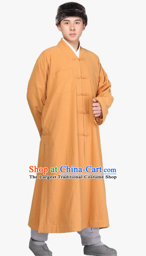 Chinese Traditional Monk Yellow Gown Costume Meditation Garment Lay Buddhist Clothing for Men