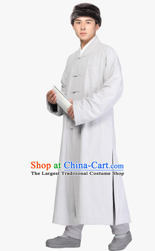 Chinese Traditional Monk Light Grey Gown Costume Meditation Garment Lay Buddhist Clothing for Men