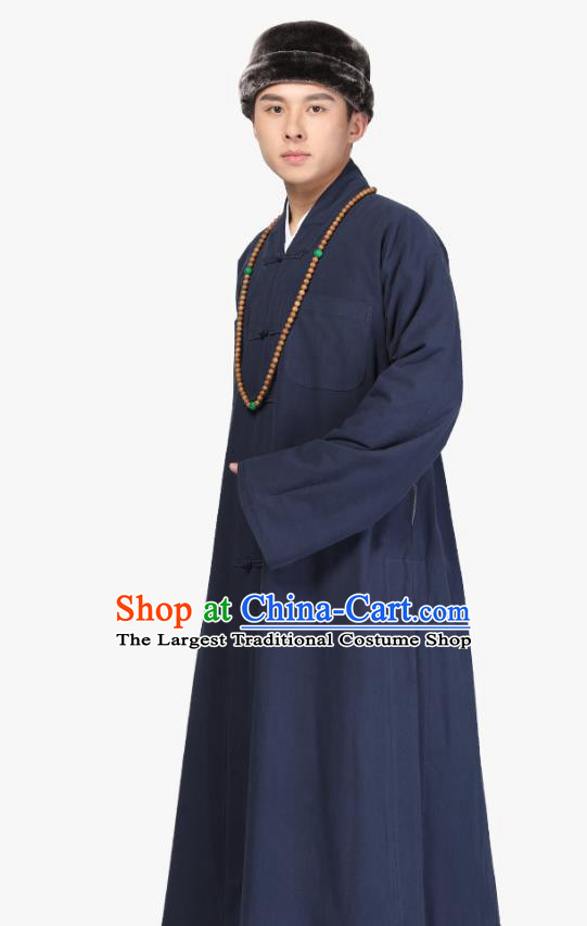 Chinese Traditional Monk Navy Brushed Gown Costume Meditation Garment Lay Buddhist Clothing for Men