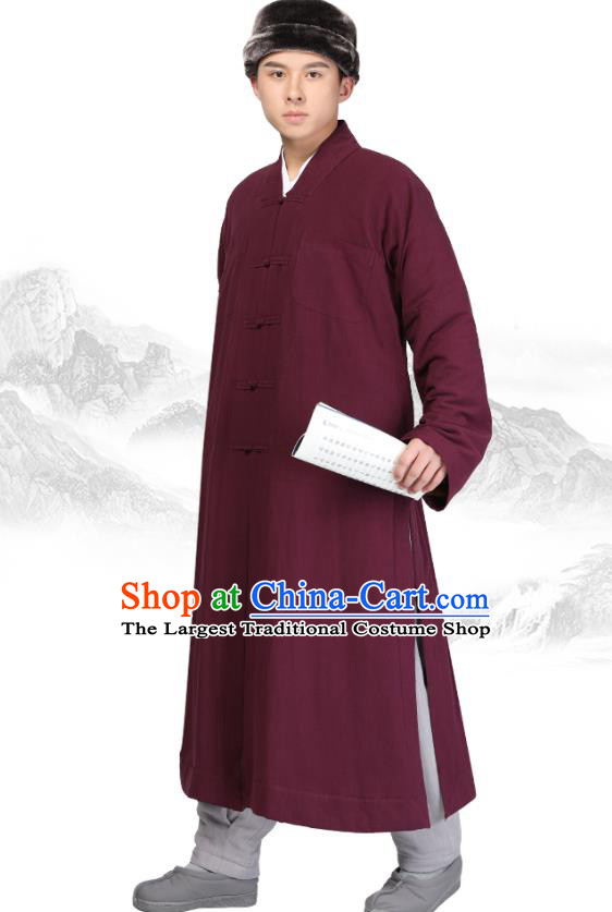 Chinese Traditional Monk Wine Red Brushed Gown Costume Meditation Garment Lay Buddhist Clothing for Men