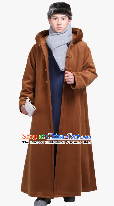 Chinese Traditional Winter Light Tan Cloak Costume Lay Buddhist Clothing Meditation Garment Dust Coat for Men
