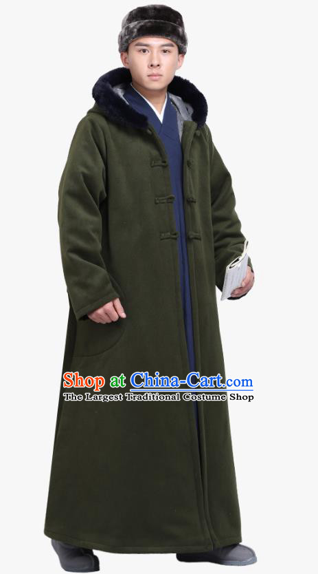 Chinese Traditional Winter Dark Green Cloak Costume Lay Buddhist Clothing Meditation Garment Dust Coat for Men
