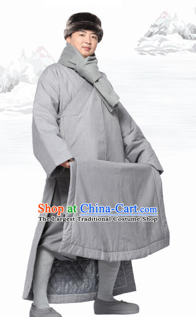 Chinese Traditional Winter Grey Cotton Padded Gown Costume Lay Buddhist Clothing Meditation Garment for Men