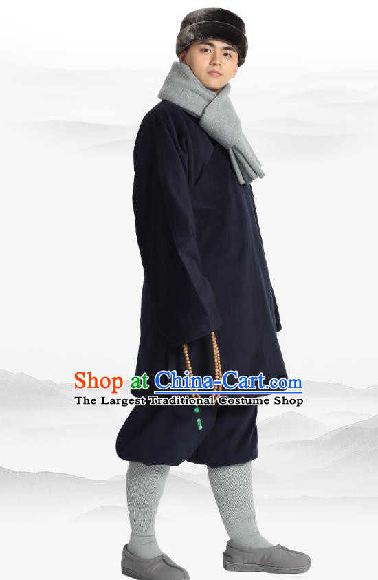 Chinese Traditional Monk Winter Navy Costume Lay Buddhist Clothing Meditation Garment Shirt and Pants for Men