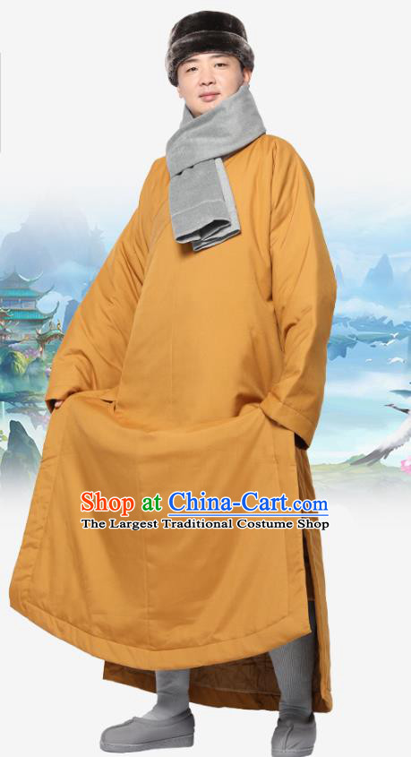 Chinese Traditional Winter Ginger Cotton Padded Gown Costume Lay Buddhist Clothing Meditation Garment for Men