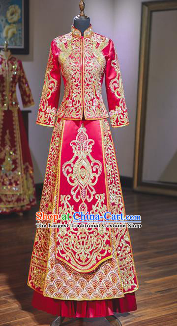 Top Grade Chinese Ancient Bride Diamante Crane Xiuhe Suit Traditional Wedding Embroidered Red Costumes for Women