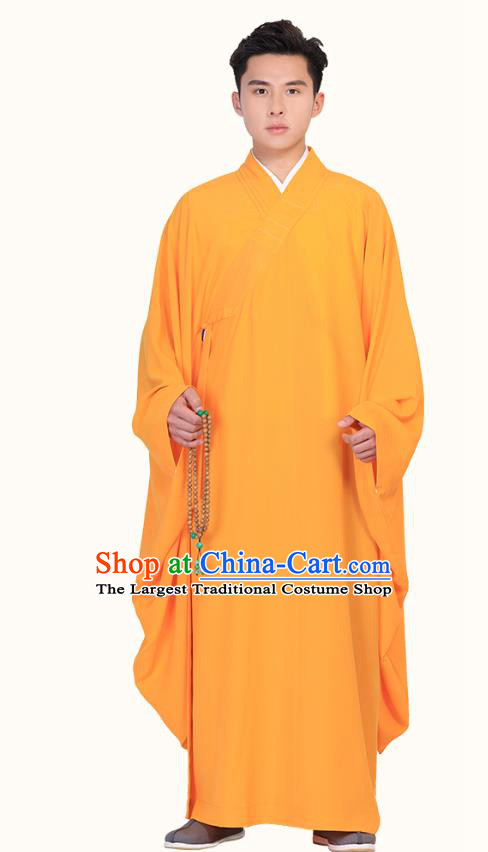 Chinese Traditional Monk Orange Robe Costume Lay Buddhist Clothing Meditation Garment for Men