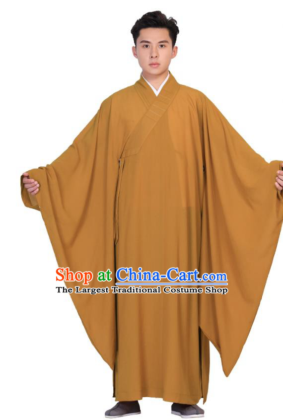 Chinese Traditional Monk Ginger Robe Costume Lay Buddhist Clothing Meditation Garment for Men