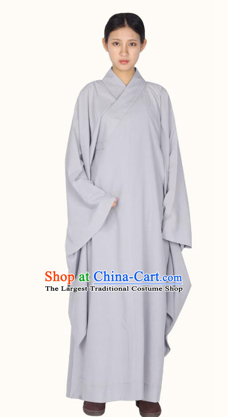 Chinese Traditional Women Lay Buddhist Costume Top Grade Meditation Uniforms Tang Suit Buddhist Cassock Grey Robe