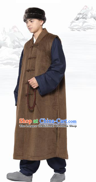 Chinese Traditional Winter Brown Long Vest Costume Meditation Garment Lay Buddhist Clothing for Men