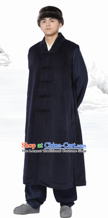 Chinese Traditional Winter Navy Long Vest Costume Meditation Garment Lay Buddhist Clothing for Men