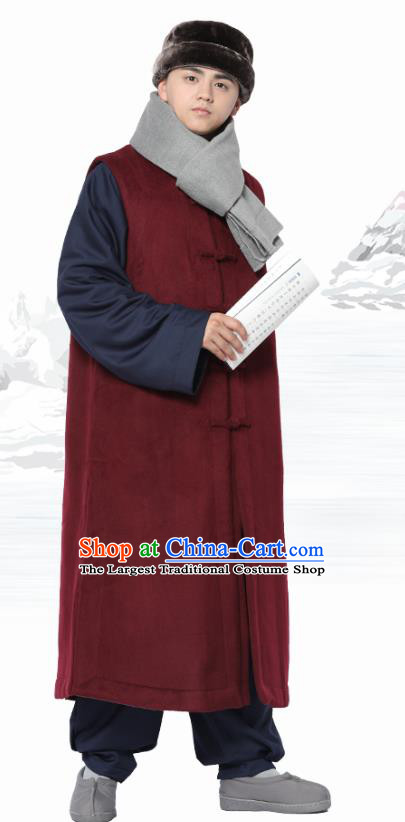 Chinese Traditional Winter Wine Red Long Vest Costume Meditation Garment Lay Buddhist Clothing for Men