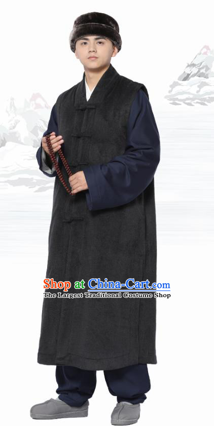 Chinese Traditional Winter Deep Grey Long Vest Costume Meditation Garment Lay Buddhist Clothing for Men