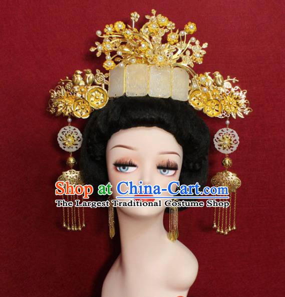 Traditional Handmade Chinese Ancient Queen Hair Accessories Jade Phoenix Coronet Hair Jewelry Hair Fascinators for Women