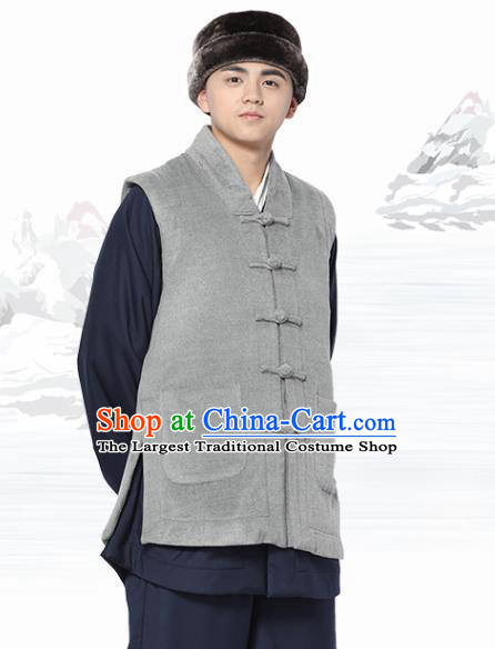 Chinese Traditional Winter Grey Vest Costume Meditation Garment Lay Buddhist Waistcoat for Men