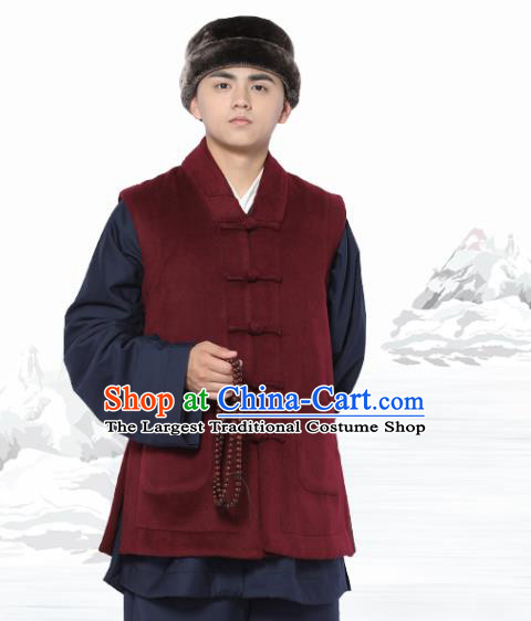 Chinese Traditional Winter Wine Red Vest Costume Meditation Garment Lay Buddhist Waistcoat for Men