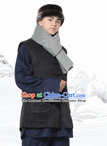 Chinese Traditional Winter Deep Grey Vest Costume Meditation Garment Lay Buddhist Waistcoat for Men