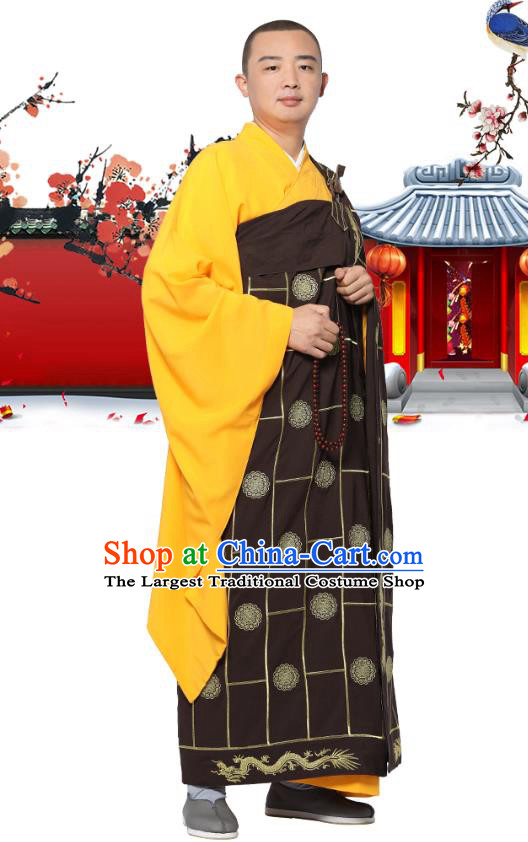 Chinese Traditional Monk Lucky Character Kasaya Costume Meditation Vestment Garment Buddhist Brown Cassock for Men