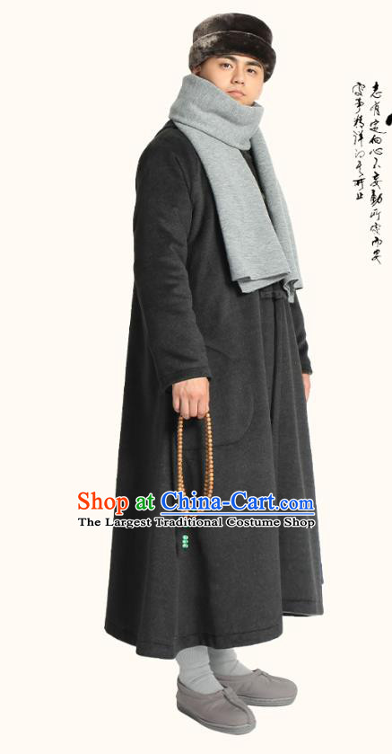 Chinese Traditional Winter Black Woolen Cloak Costume Lay Buddhist Clothing Meditation Garment Dust Coat for Men