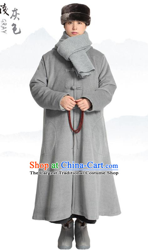 Chinese Traditional Winter Grey Woolen Cloak Costume Lay Buddhist Clothing Meditation Garment Dust Coat for Men