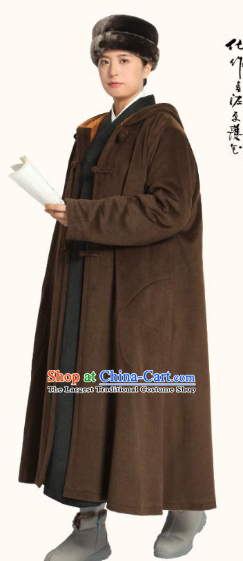 Chinese Traditional Winter Brown Woolen Cloak Costume Lay Buddhist Clothing Meditation Garment Dust Coat for Men