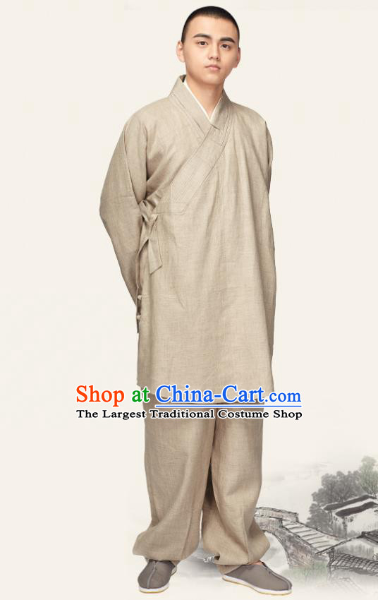 Chinese Traditional Monk Khaki Flax Short Gown and Pants Meditation Garment Buddhist Bonze Costume for Men