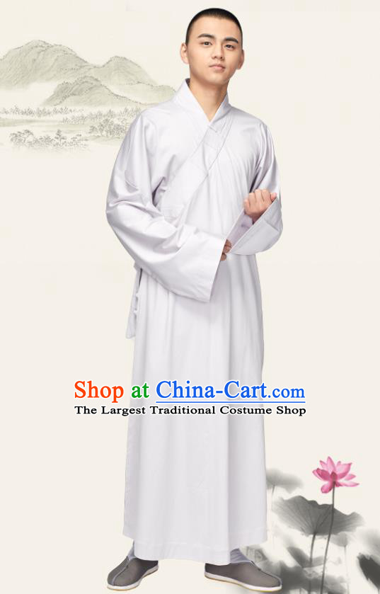 Chinese Traditional Buddhist Bonze Costume Meditation Garment Monk White Robe Frock for Men