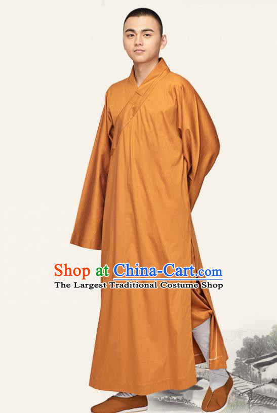 Chinese Traditional Buddhist Bonze Costume Meditation Garment Monk Orange Robe Frock for Men